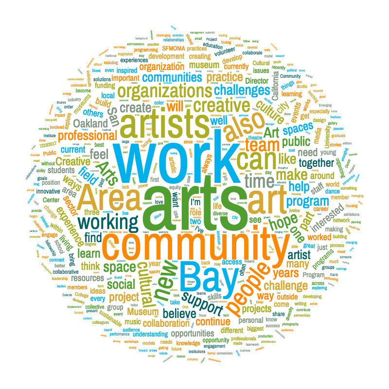 A wordcloud of the 50+ applications from this year's fellowship program
