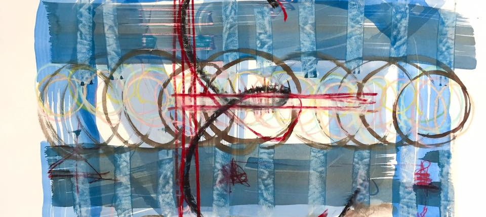 "an image of a painting I did the morning after I heard the news.   It has a black E in cursive over a bold capital E in red. Funny, i didn't think of it at the time, but it is rather quite like her - her soft, playful, gentle human quality, together with that of determination towards greater clarity, the need/desire for structure and results. :)   Todd Thomas Brown ""E"" is for Ebony mixed media on paper., 2017"