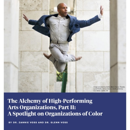 Cover of report with title in white and blue, featuring a photo of a person with brown skin, bald head, and in a blue blazer and office-style clothing leaping in the air in a dancing pose