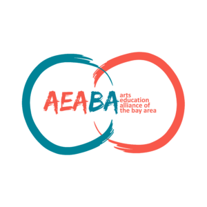 Org logo, two connected painterly circles in blue and red, text says AEABA